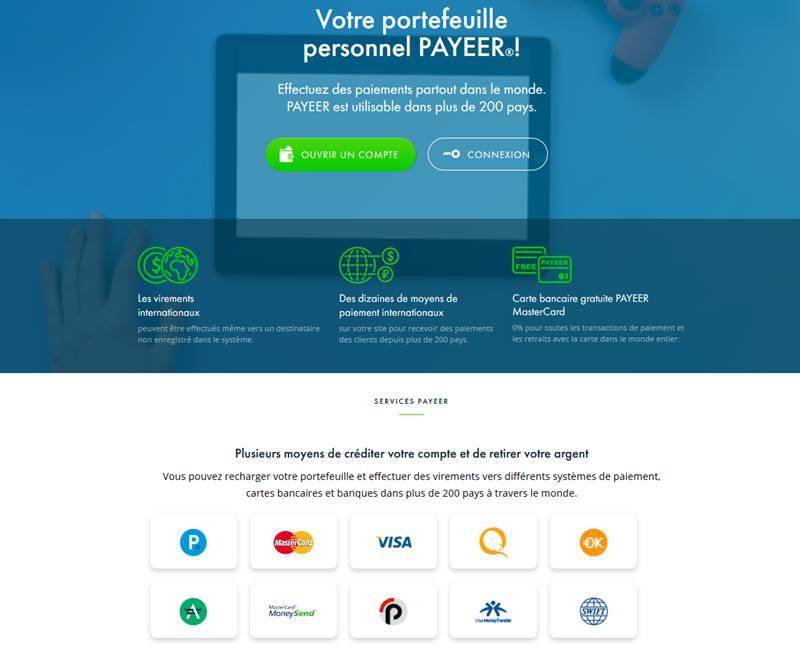 Vue page d'accueil