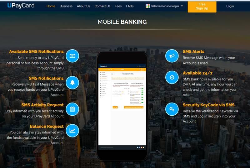 Mobile banking de Upaycard